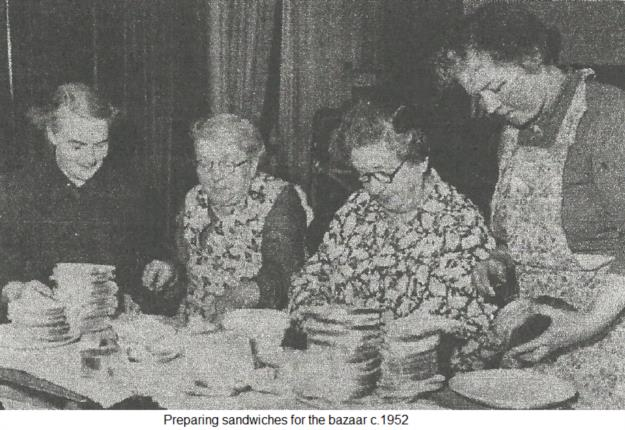 Preparing sandwiches for the bazaar c.1952