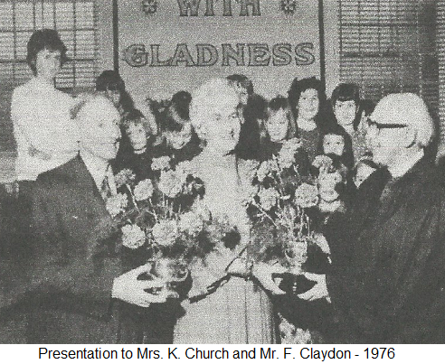 Presentation to Mrs. K. Church and Mr. F. Claydon - 1976