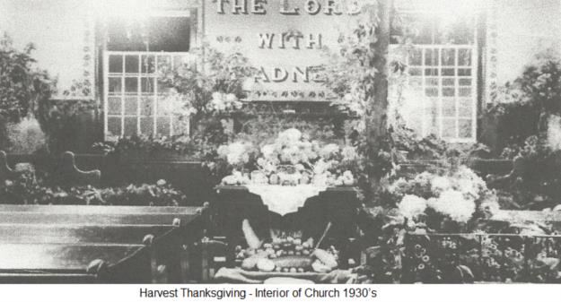 Harvest Thanksgiving - Interior of Church 1930's