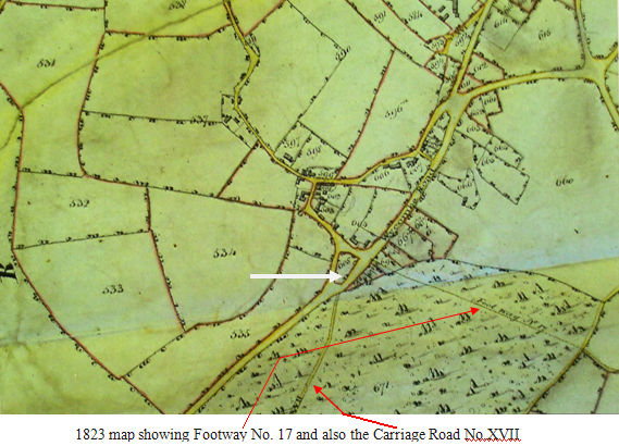 1823 map showing Plot 605, Footway No. 17 and also the Carriage Road No.XVII