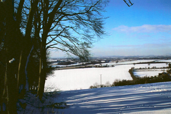 A winter scene from the top of the Grubbin looking across to the Vale of Aylesbury