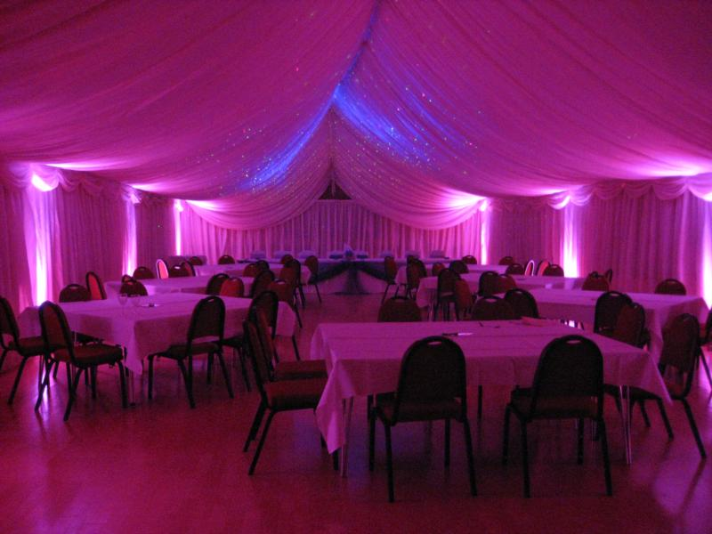 Marquee lined - strong lighting